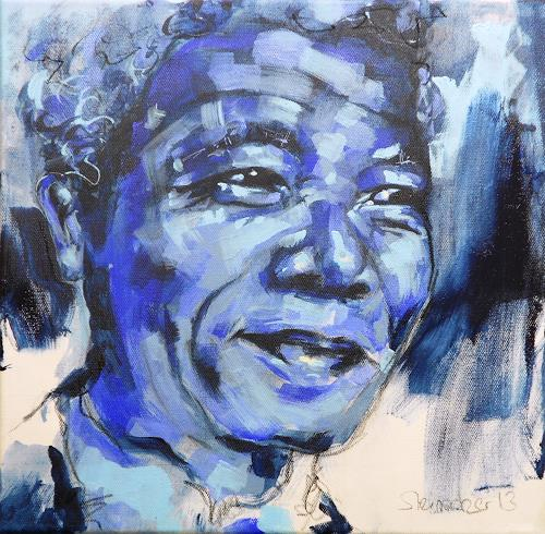 Michaela Steinacher, blue mandela, Society, People: Portraits, Contemporary Art
