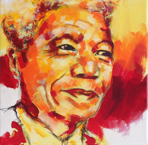 Michaela Steinacher, yellow mandela, Society, People: Portraits, Contemporary Art