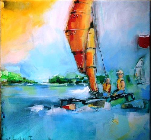 Michaela Steinacher, Attersee, Landscapes: Sea/Ocean, Nature: Water, Contemporary Art, Expressionism