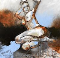 Michaela-Steinacher-People-Women-Erotic-motifs-Female-nudes-Modern-Age-Expressive-Realism