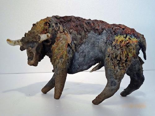 Vic Zumsteg, Stier, Bull  (Vic Zumsteg), Abstract art, Animals: Land, Art Déco, Abstract Expressionism