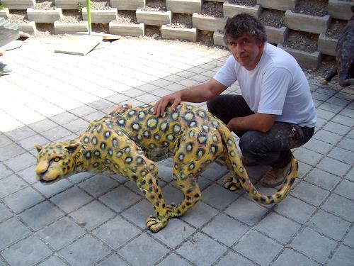 """ART by BONVALET, Skulptur """"Panther auf der Lauer""""50, Animals: Land, Interiors: Gardens, Environment Art"""