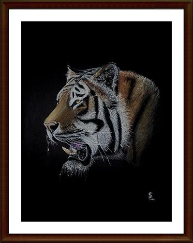 Jacqueline Scheib, TIGER-PORTRAIT, Animals: Land, Nature: Earth, Naturalism, Modern Age