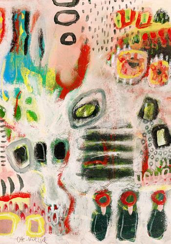Christa Otte-Kreisel, blue beside, Abstract art, Abstract Art