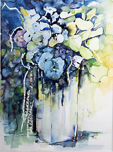 Gertraud Wagner, Blauer Strauss, Plants: Flowers, Expressionism