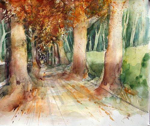 Gertraud Wagner, Allee auf Rügen, Landscapes: Autumn