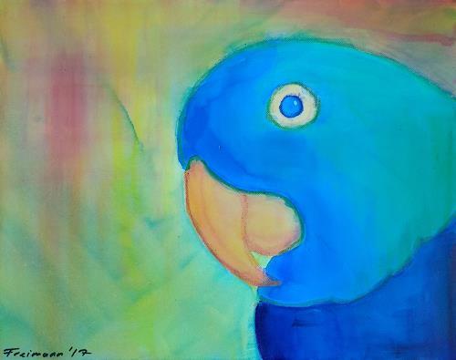 Florian Freimann, Der bunte Vogel, Animals: Air, Landscapes: Tropics, Abstract Expressionism
