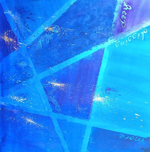 Florian Freimann, Blue (Gold Digger), Decorative Art, Abstract art, Art Déco