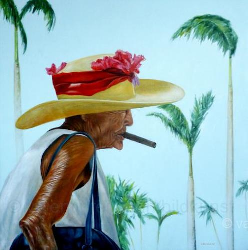 Valentin Reimann, Cuban beauty walks in a palm grove and smokes a good cigar., People: Women, Plants: Trees, Realism, Expressionism