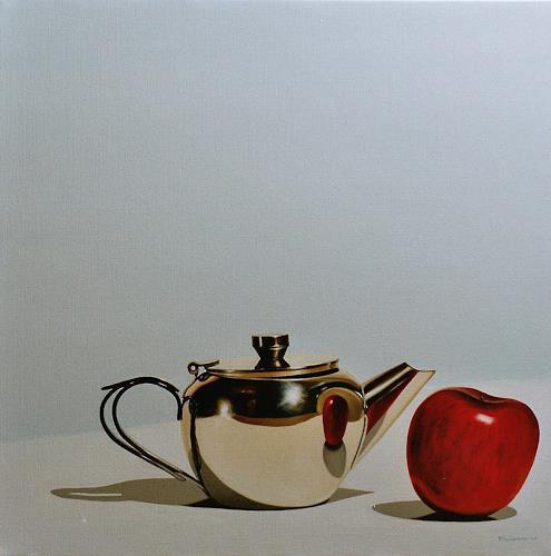 Valentin Reimann, Teekanne und Apfel, Still life, Still life, Realism, Expressionism