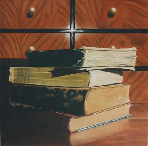 Valentin Reimann, Bücher, Still life, Leisure, Contemporary Art, Expressionism