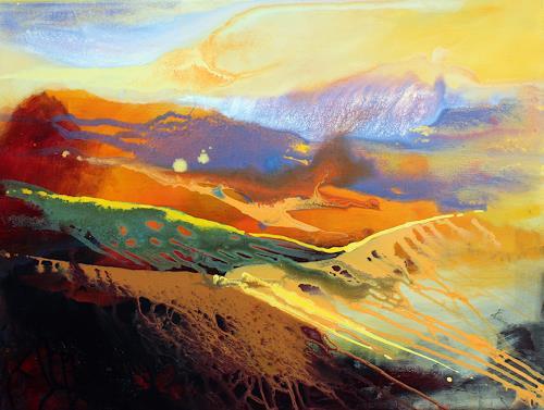 Ingrid Kainz, Steirische Weinlandschaft 2, Miscellaneous Landscapes, Abstract Art, Expressionism