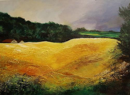 Ingrid Kainz, Kornfeld, Landscapes: Plains, Landscapes: Spring, Land-Art, Expressionism