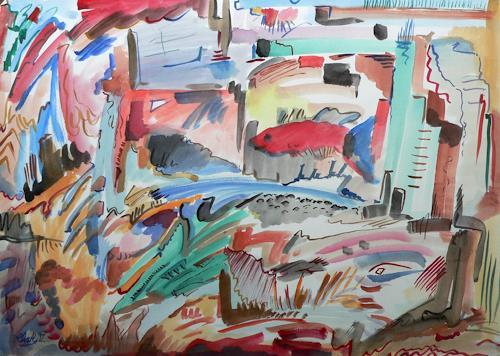 born2paint, Roter Fisch, Abstract art, Contemporary Art