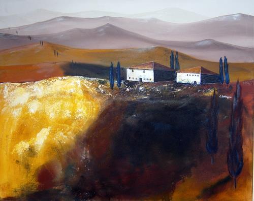 Cäcilia Schlapper, Toscana VI, Landscapes: Hills, Contemporary Art, Expressionism