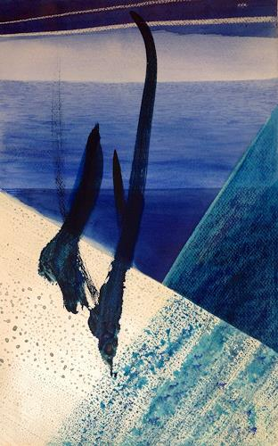 Sebastian Burckhardt, On a Ship, Landscapes: Sea/Ocean, Movement, New Image Painting, Abstract Expressionism