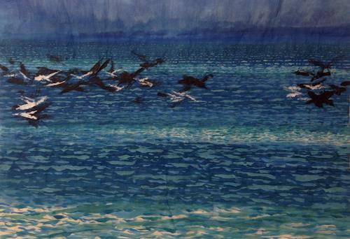 Sebastian Burckhardt, Sea and Birds Waves Coming, Landscapes: Sea/Ocean, Animals: Air, Contemporary Art, Expressionism