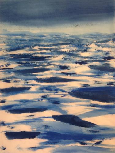 Sebastian Burckhardt, Sea and Birds 2, Landscapes: Sea/Ocean, Nature: Water, Arte Cifra, Abstract Expressionism