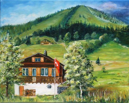 Anett Struensee, Hüsli in Amden, Buildings: Houses, Landscapes: Mountains, Naturalism
