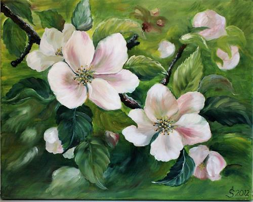 Anett Struensee, Apfelblüten, Plants: Flowers, Decorative Art, Naturalism