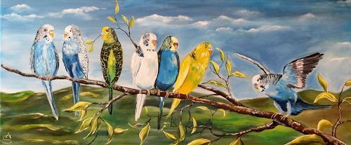 Anett Struensee, Wellensittiche, Animals, Nature, Naturalism