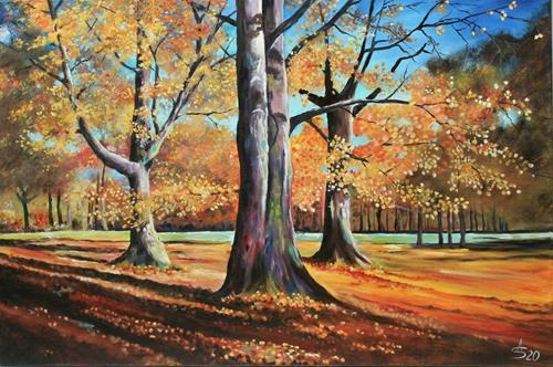 Anett Struensee, Goldene Zeit, Landscapes: Autumn, Nature: Wood, Naturalism, Expressionism