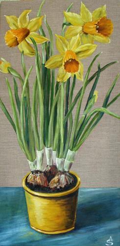 Anett Struensee, Narzissen, Plants: Flowers, Decorative Art, Naturalism