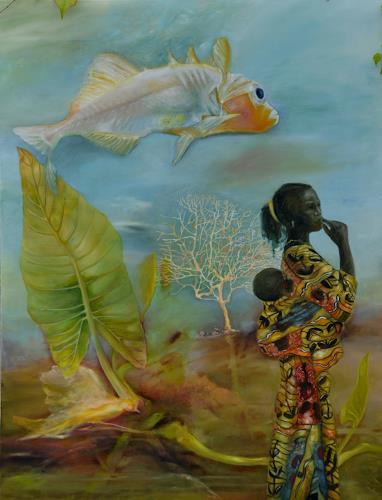 Doris Koutras, Benin 2, People: Women, Contemporary Art, Abstract Expressionism