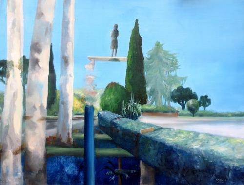 Doris Koutras, Tiefes Blau, Miscellaneous Landscapes, Post-Surrealism, Abstract Expressionism