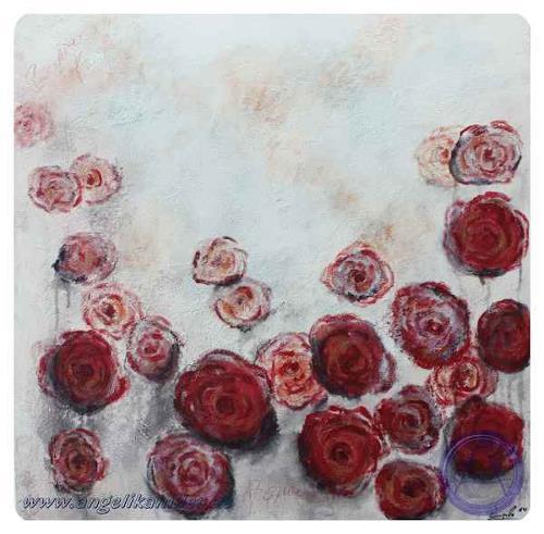 Angelika Hiller, Pfingstrosenreigen, Abstract art, Plants: Flowers, Contemporary Art