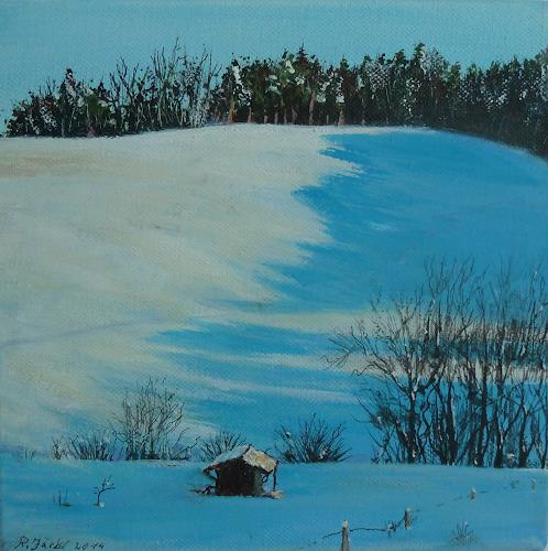 Rainer Jäckel, Winternachmittag, Landscapes: Mountains, Landscapes: Winter, Contemporary Art, Expressionism