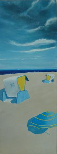 Rainer Jäckel, Ostsee Strandkörbe Mittagssonne, Landscapes: Beaches, Landscapes: Summer, Neo-Expressionism