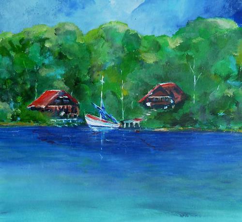 Rainer Jäckel, Hausboot, Landscapes: Summer, Nature: Water, Expressive Realism
