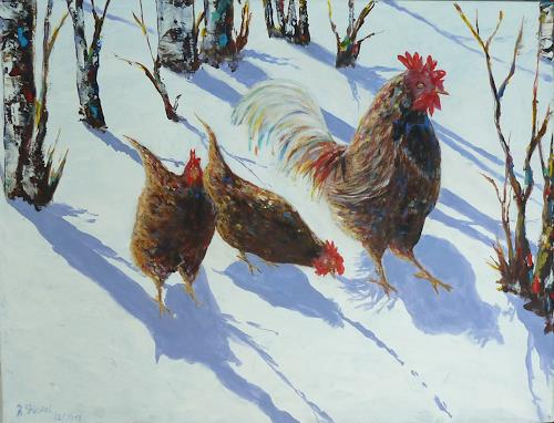 Rainer Jäckel, Winterkorn, Landscapes: Winter, Animals: Land, Realism