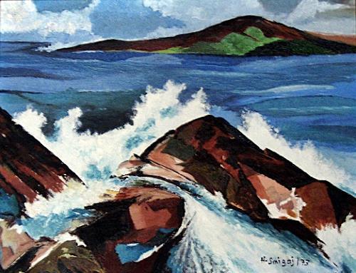 Hanni Smigaj, Irische See, Abstract art, Landscapes: Sea/Ocean, Naturalism, Expressionism