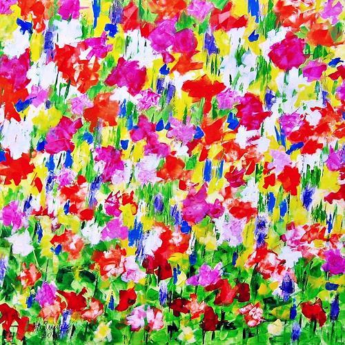 Hanni Smigaj, Frühlingserwachen II, Nature, Plants: Flowers, Abstract Expressionism