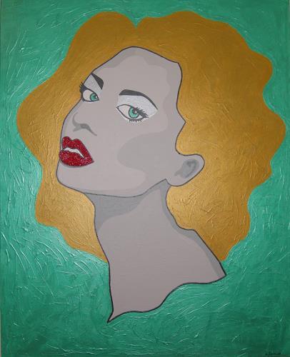 Michaela Zottler, Golden Hair Lady, People: Faces, People: Women, Pop-Art
