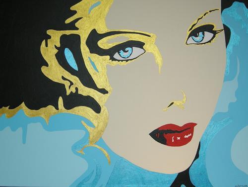 Michaela Zottler, Golden Face, People: Women, People: Portraits, Pop-Art, Expressionism