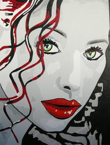 Michaela Zottler, Curly Sue, People: Women, People: Portraits, Pop-Art, Abstract Expressionism