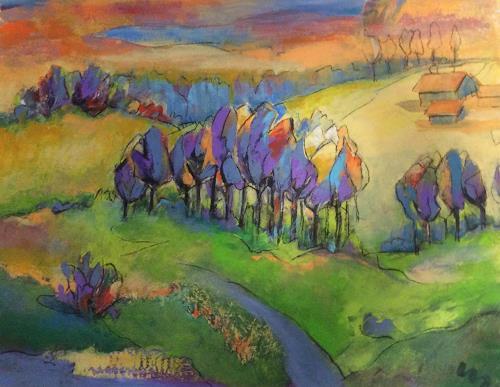 miro sedlar, oak trees, Landscapes: Autumn, Abstract Art, Expressionism