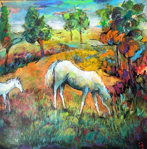 miro sedlar, pasture, Animals: Land, Abstract Art