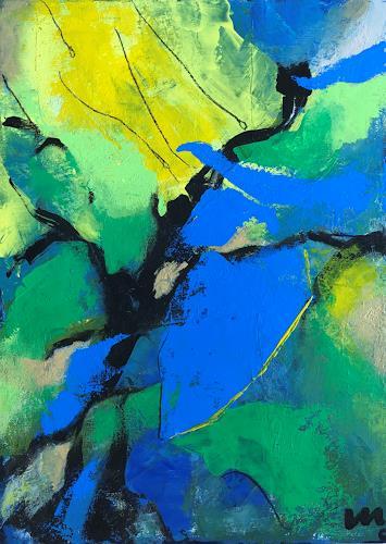 miro sedlar, Blue-green valley, Abstract art, Abstract Art