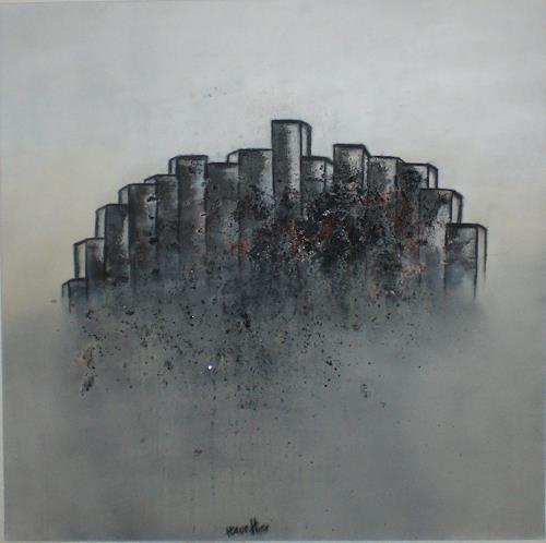 Cornelia Hauch, Stadt im Nebel, Abstract art, Abstract Art