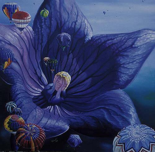 Roland Spohn, Die Ballonblume, Plants: Flowers, Fantasy, Post-Surrealism, Expressionism