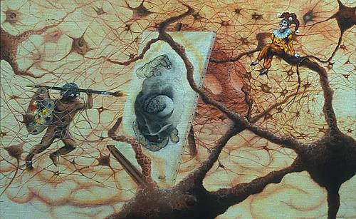 Roland Spohn, Der Kampf des Malers, Fantasy, People: Men, Post-Surrealism, Abstract Expressionism