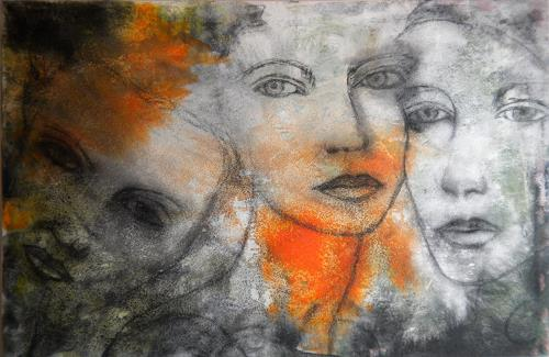 Claudia Neusch, The Three Graces, People: Faces, Abstract art, Modern Age