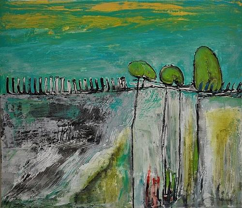 Justyna Gadek, Waiting, Miscellaneous Landscapes, Abstract art, Contemporary Art, Expressionism