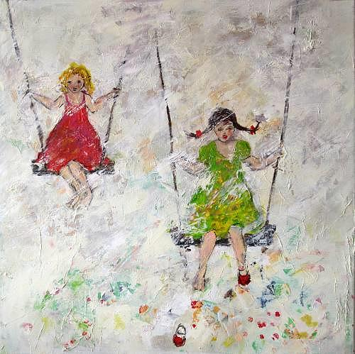 Rose Lamparter, Schaukel, Abstract art, People: Children, Abstract Art, Expressionism