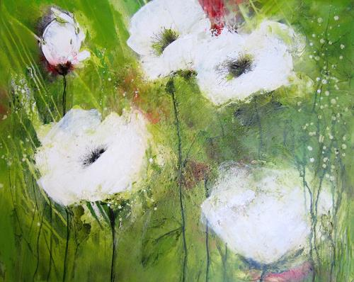 Rose Lamparter, weißer Mohn 2, Plants, Abstract Art, Expressionism