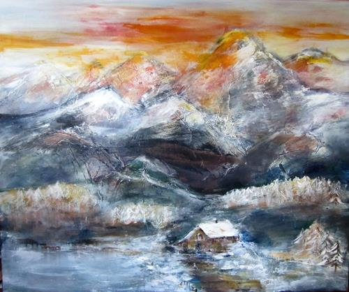 Rose Lamparter, Berghütte, Landscapes, Abstract Art
